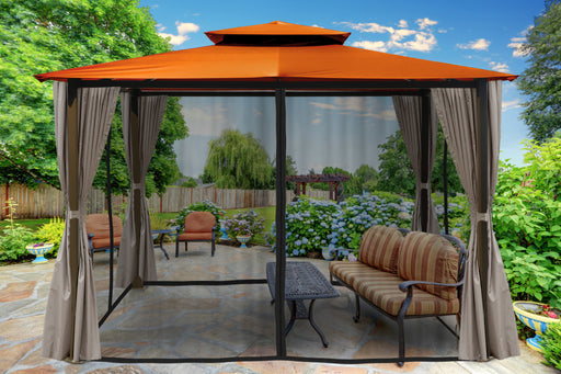Paragon Outdoor™ Barcelona Gazebo with Rust Color Top and Privacy Curtains and Mosquito Netting, Size - 10' x 12':Tuff Nest