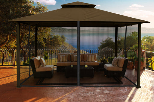Paragon Outdoor™ Kingsbury Gazebo with Cocoa Top and Mosquito Netting, Size - 11' x 14':Tuff Nest