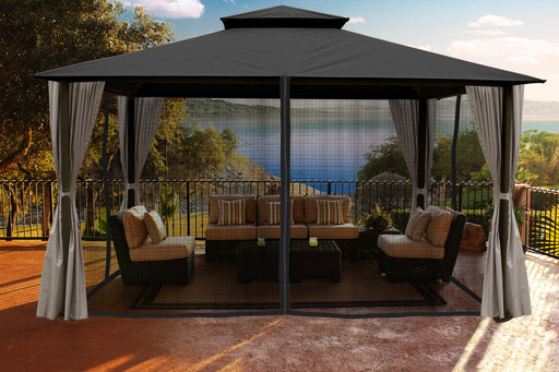 Paragon Outdoor™ Sedona Gazebo with Grey Color roof and Privacy Curtains and Mosquito Netting, Size - 11' x 14':Tuff Nest