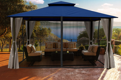 Paragon Outdoor™ Sedona Gazebo with Navy Color roof and Privacy Curtains and Mosquito Netting, Size - 11' x 14':Tuff Nest
