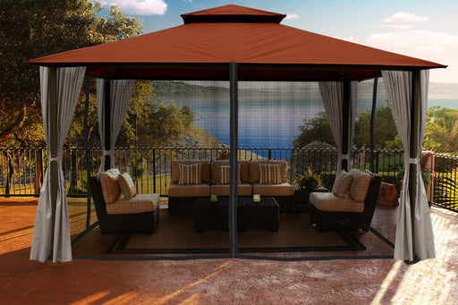 Paragon Outdoor™ Sedona Gazebo with Rust Color roof and Privacy Curtains and Mosquito Netting, Size - 11' x 14':Tuff Nest