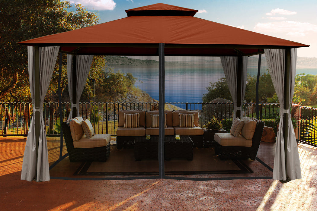 Paragon Outdoor™ Santa Cruz Gazebo with Rust Sunbrella Top and Privacy Curtain and Mosquito Netting, Size - 11' x 14':Tuff Nest