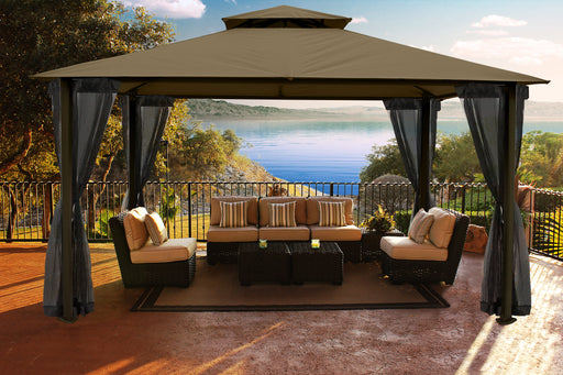Paragon Outdoor™ Santa Cruz Gazebo with Cocoa Sunbrella Top and Privacy Curtains and Mosquito Netting, Size - 11' x 14':Tuff Nest