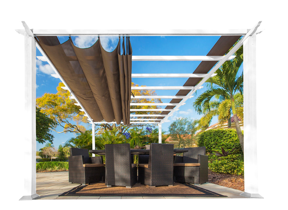 Paragon Outdoor™ Florence White Aluminum Pergola with a Cocoa Color Canopy, Size - 11' x 16':Tuff Nest