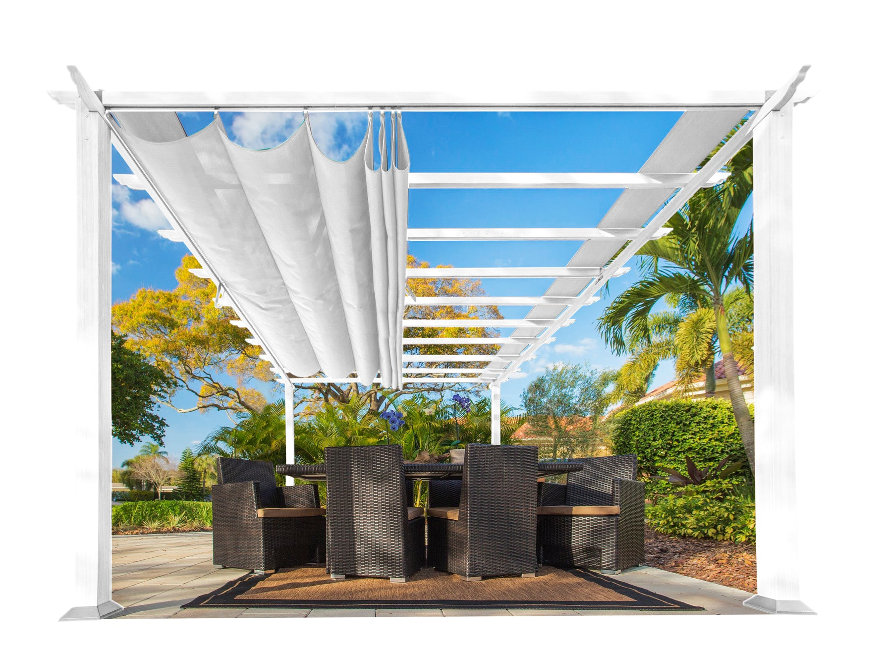 Paragon Outdoor™ Florence White Aluminum Pergola with a White Color Canopy, Size - 11' x 16':Tuff Nest