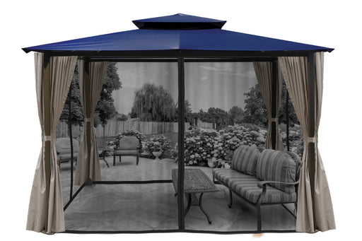Paragon Outdoor™ Barcelona Gazebo with Navy Top and Privacy Curtains and Mosquito Netting, Size - 10' x 12':Tuff Nest