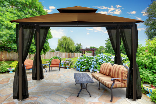 Paragon Outdoor™ Barcelona Gazebo with Cocoa Roof and Mosquito Netting, Size - 10' x 12':Tuff Nest