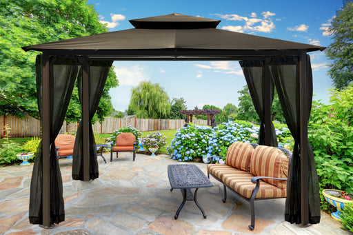 Paragon Outdoor™ Barcelona Gazebo with Grey Roof and  Mosquito Netting, Size - 10' x 12':Tuff Nest