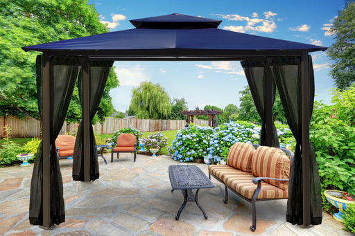 Paragon Outdoor™ Barcelona Gazebo with Navy Roof and  Mosquito Netting, Size - 10' x 12':Tuff Nest