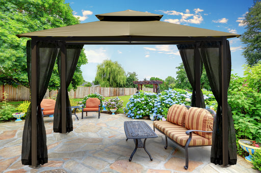 Paragon Outdoor™ Barcelona Gazebo with Sand Roof and  Mosquito Netting, Size - 10' x 12':Tuff Nest