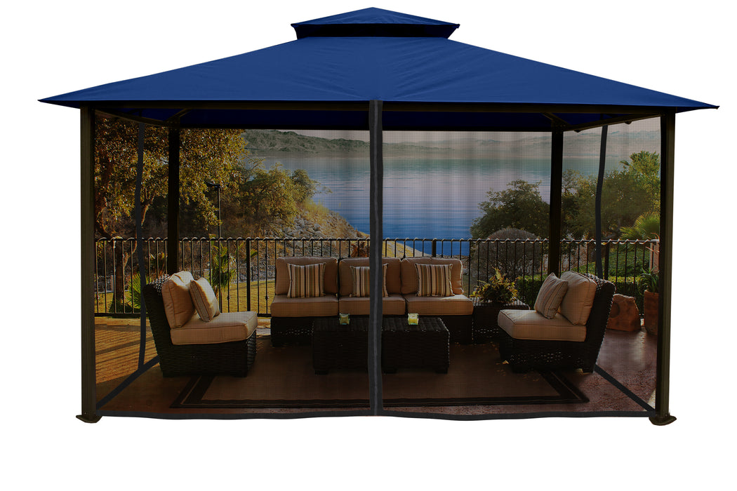 Paragon Outdoor™ Kingsbury Gazebo with Navy Top and Mosquito Netting, Size - 11' x 14':Tuff Nest