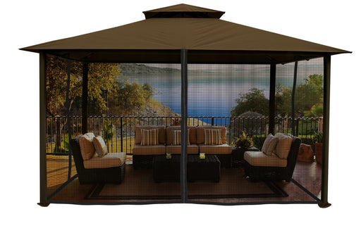 Paragon Outdoor™ Kingsbury Gazebo with Cocoa Color Sunbrella Top and Mosquito Netting, Size - 11' x 14':Tuff Nest