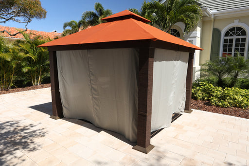 Paragon Outdoor™ Seville Gazebo with Rust Top and Privacy Curtains and Mosquito Netting, Size - 12' x 12':Tuff Nest