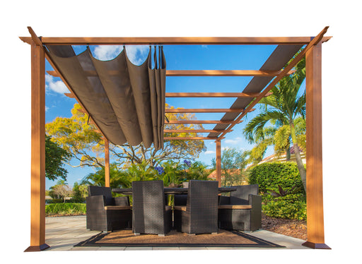 Paragon Outdoor™ Florence Aluminum Pergola with the look of Canadian Cedar Wood Grain Finish  and Cocoa Color Convertible Canopy, Size - 11' x 11':Tuff Nest