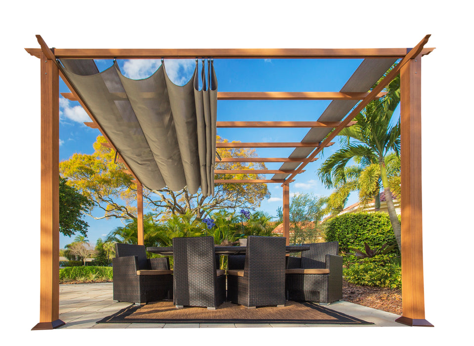 Paragon Outdoor™ Florence Aluminum Pergola with the look of Canadian Cedar  Wood Grain Finish  and a Sand Color Convertible Canopy, Size - 11' x 11':Tuff Nest