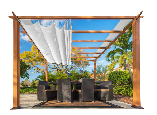 Paragon Outdoor™ Florence Aluminum Pergola with the look of Canadian Cedar Wood Grain Finish  and White Color Convertible Canopy, Size - 11' x 11':Tuff Nest