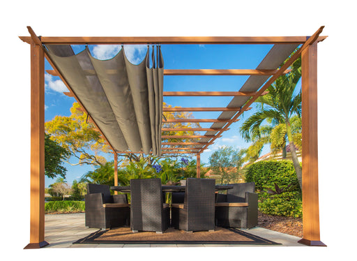 Paragon Outdoor™ Florence Aluminum Pergola With the look of Canadain  Wood  with Sand Canopy, Size - 11' x 16':Tuff Nest