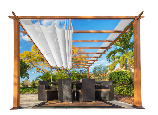 Paragon Outdoor™ Florence Aluminum Pergola With the look of Canadain  Wood  with White Canopy, Size - 11' x 16':Tuff Nest