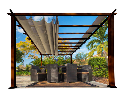 Paragon Outdoor™ Florence Aluminum Pergola With the look of Chilean  Wood  with a Sand Color Canopy, Size - 11' x 16':Tuff Nest