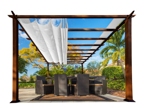 Paragon Outdoor™ Florence Aluminum Pergola With the look of Chilean  Wood  with a White Color Canopy, Size - 11' x 16':Tuff Nest