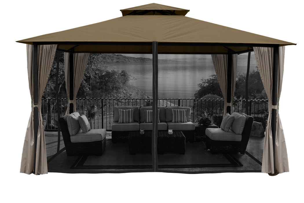 Paragon Outdoor™ Sedona Gazebo with Sand Color roof and Privacy Curtains and Mosquito Netting, Size - 11' x 14':Tuff Nest