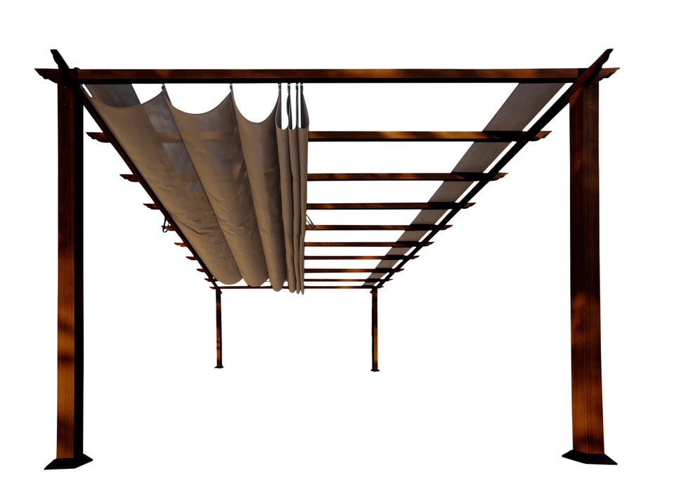 Paragon Outdoor™ Florence Aluminum Pergola With the look of Chilean  Wood  with Cocoa Canopy, Size - 11' x 16':Tuff Nest