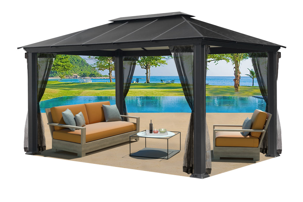 Paragon Outdoor™  Santa Monica Hard Top Gazebo With Mosquito Netting, Size - 11' x 16':Tuff Nest
