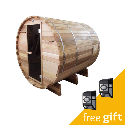 Aleko® Outdoor or Indoor Rustic Western Red Cedar Wet Dry Barrel Sauna - 6kW ETL Certified Heater - 6 person:Tuff Nest