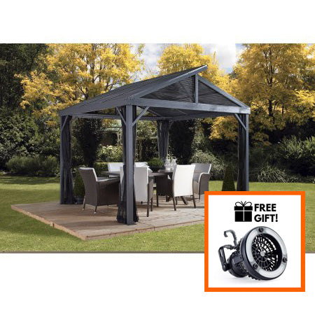 Tuff Nest, Sojag™ Sanibel II Hard Top Gazebo/Sun Shelter With Galvanized Steel Roof & Nylon Mesh Screen, {variant_title]