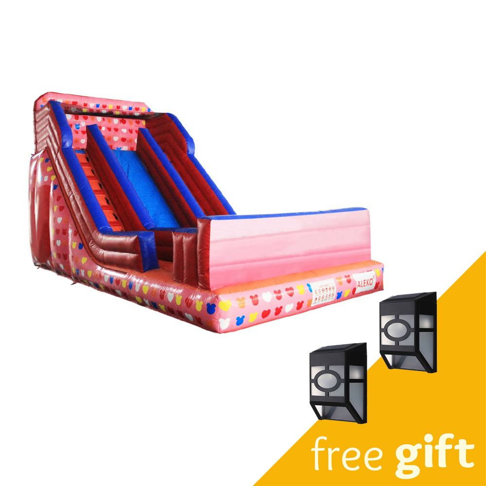 Aleko® Commercial Grade Inflatable Bounce House Water Slide with Pool and Blower - Pink and Multi-Color Decals:Tuff Nest