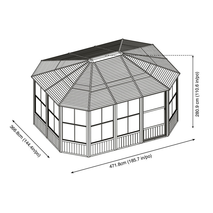 Sojag™ Charleston Aluminum Octagonal Solarium With Galvanized Steel Roof and Double Doors:Tuff Nest