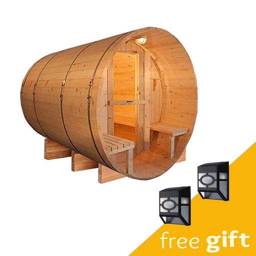 Aleko® Outdoor and Indoor Western Red Cedar Barrel Sauna with Front Porch Canopy - 4.5 kW ETL Certified - 5 Person:Tuff Nest