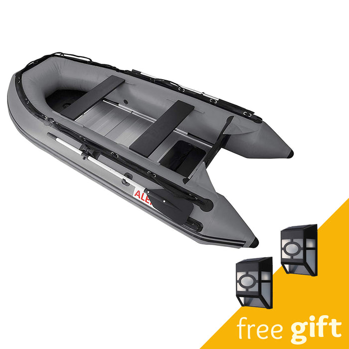 Aleko® Inflatable Boat with Aluminum Floor - 12.5 ft - Gray:Tuff Nest