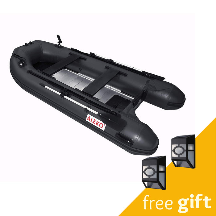Aleko® PRO Fishing Inflatable Boat with Aluminum Floor - Front Board Holders - 10.5 ft - Black:Tuff Nest