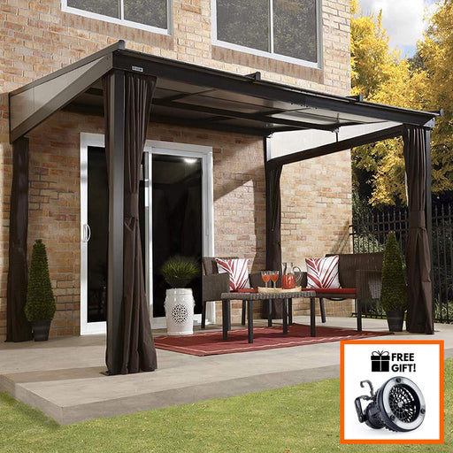 Sojag™ Budapest Wall Mounted Gazebo With Mosquito Netting & Curtains - Size 10'x12':Tuff Nest