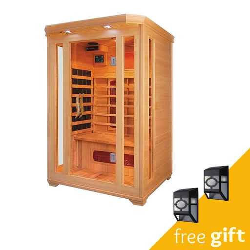 Aleko® Canadian Hemlock Indoor Dry Infrared Sauna - 2 Carbon Fiber Heaters - 4 Ceramic Heaters - 2 Person:Tuff Nest