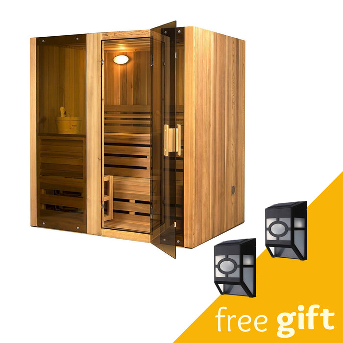 Aleko® Canadian Cedar Indoor Wet or Dry Sauna Steam Room - 4.5 kW ETL Certified Heater - 4 Person:Tuff Nest