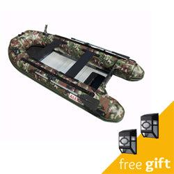Aleko® PRO Fishing Inflatable Boat with Aluminum Floor  - Front Board Holders - 10.5 ft - Camouflage Style:Tuff Nest