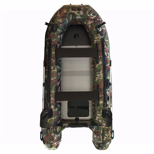 Aleko® PRO Fishing Inflatable Boat with Aluminum Floor - Front Board Holders - 12.5 ft - Camouflage Style:Tuff Nest