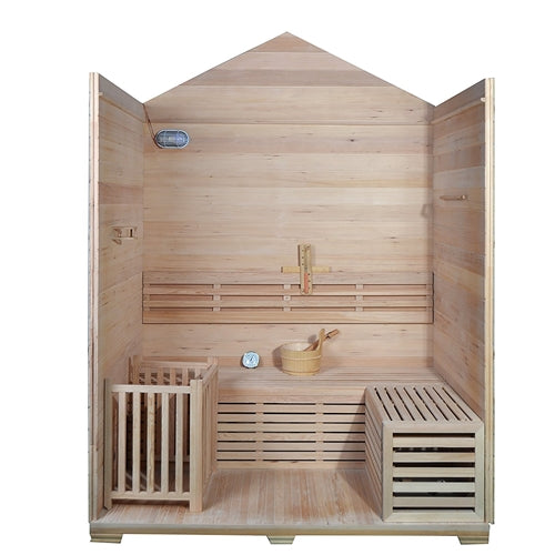 Aleko® Outdoor Canadian Red Cedar Wood Wet Dry Sauna - 4 Person - 4.5 kW ETL Electrical Heater - Stone Finish:Tuff Nest