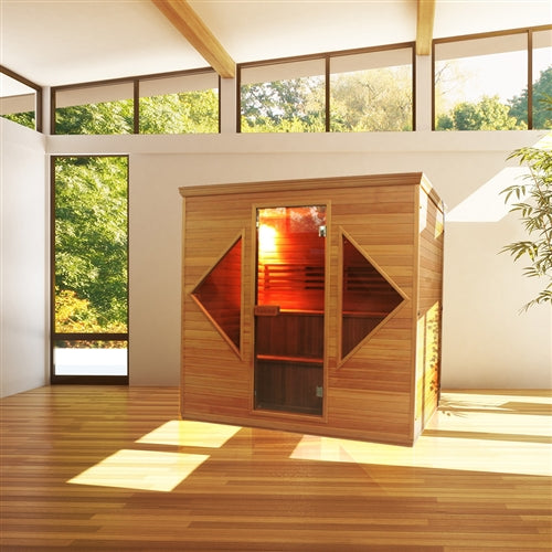 Aleko® CED6HELSINKI 4-5 Person Canadian Red Cedar Wood Indoor Wet Dry Sauna with 4.5 kW ETL Electrical Heater:Tuff Nest