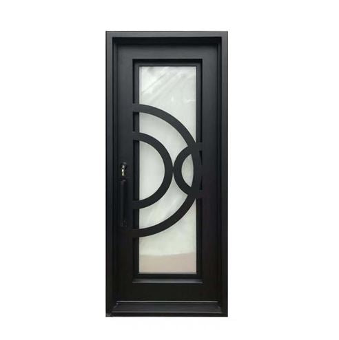 Aleko® Iron Square Top Curved-Arc Design Single Door with Frame and Threshold - 96 x 40 Inches - Matte Black:Tuff Nest