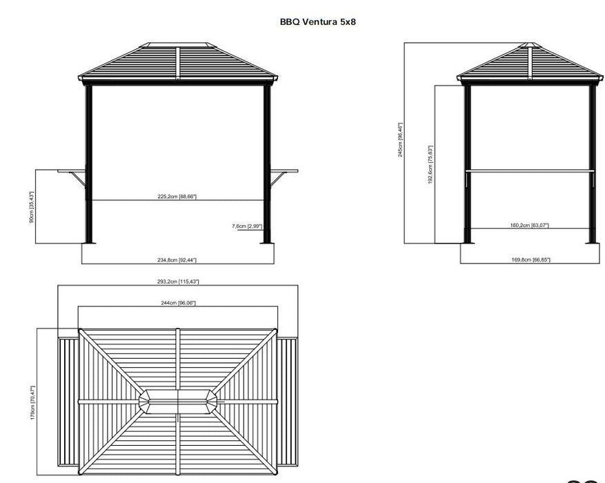 Sojag™ BBQ Ventura BBQ Shelter With Galvanized Steel Roof - Size 5'x8':Tuff Nest