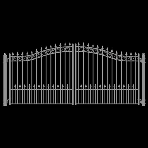Aleko® Steel Dual Swing Driveway Gate - PRAGUE Style - 12 x 6 Feet - White:Tuff Nest