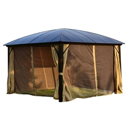 Aleko® Aluminum Hardtop Gazebo with Removable Mesh Walls - 12 x 12 Feet - Brown:Tuff Nest