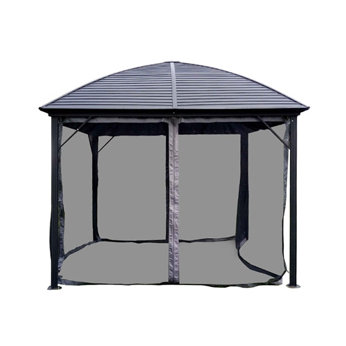 Aleko® Aluminum and Steel Hardtop Gazebo with Mosquito Net - 10 x 10 Feet - Black:Tuff Nest