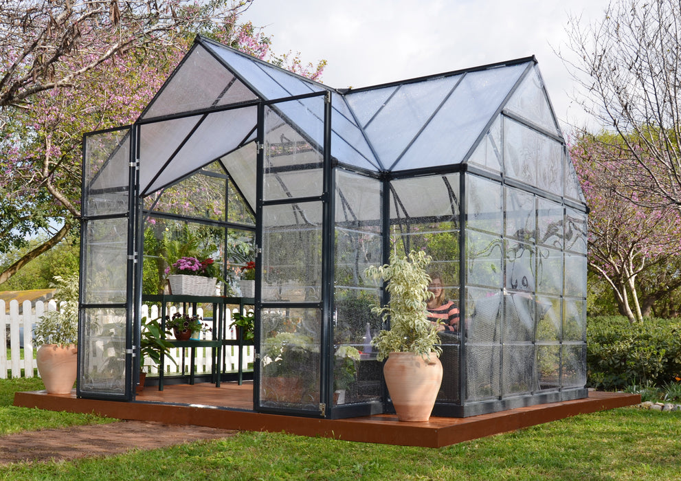Palram Chalet Greenhouses, Charcoal Gray Size - 12' x 10':Tuff Nest
