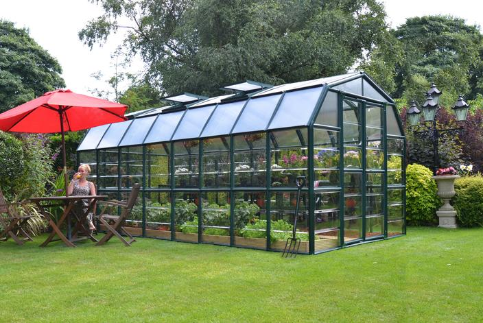 Rion Grand Gardener 2 Greenhouse, Clear Side Walls, Dark Green:Tuff Nest