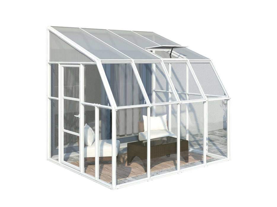 Rion Sun Room 2 Greenhouse, Translucent Side Walls, White:Tuff Nest
