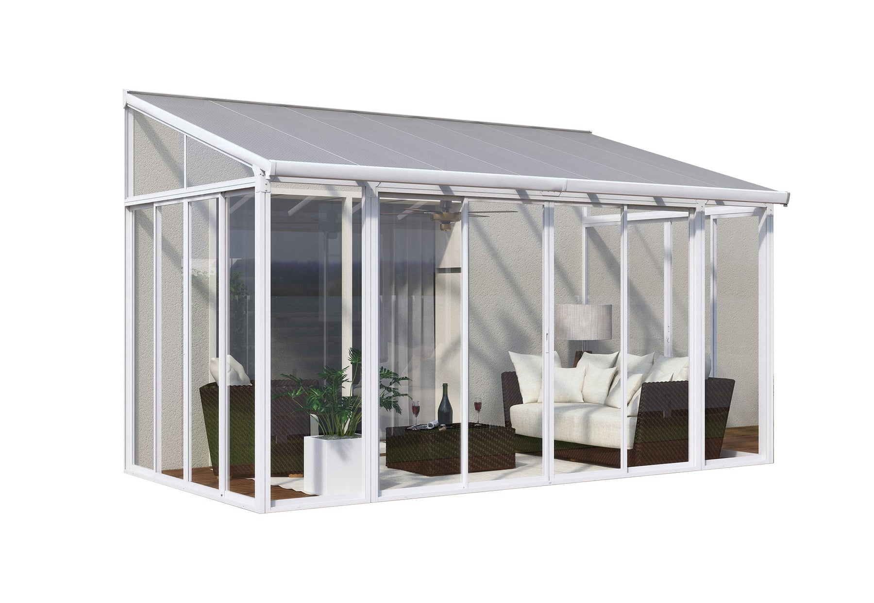 Palram SanRemo Add-a-Room, Patio Enclosure - White Size - 10' x 14':Tuff Nest